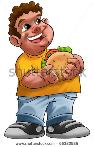 Fat Boy Smiling And Ready To Eat A Big Hamburger Stock Photo 65383585