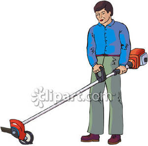 Man With A Weed Eater Or Edger Royalty Free Clipart Picture