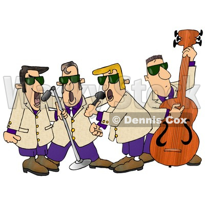 Musicians Playing 1950 S Style Blues Music Clipart Illustration