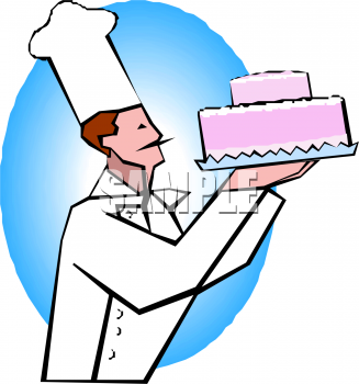 Pastry Chef Holding A Pink Layer Cake Clipart Image   Foodclipart Com