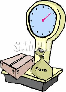 Scale Weighing A Box And Bag Of Food   Clipart