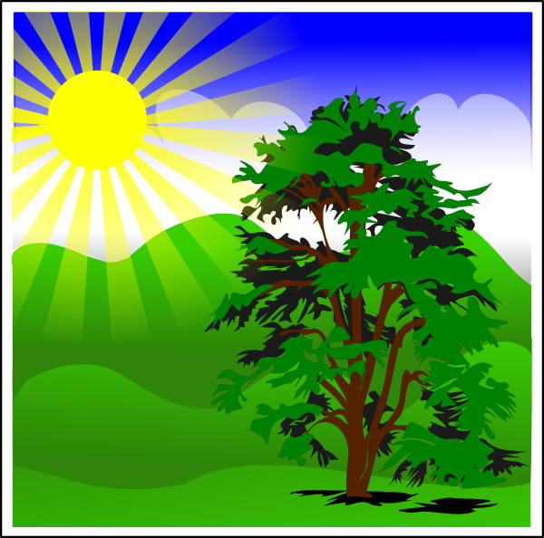 Sunny Spring With Blue Sky Clip Art At Clker Com   Vector Clip Art