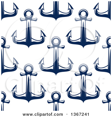 Clipart Of A Nautical Seamless Background Pattern Of Navy Blue Anchors