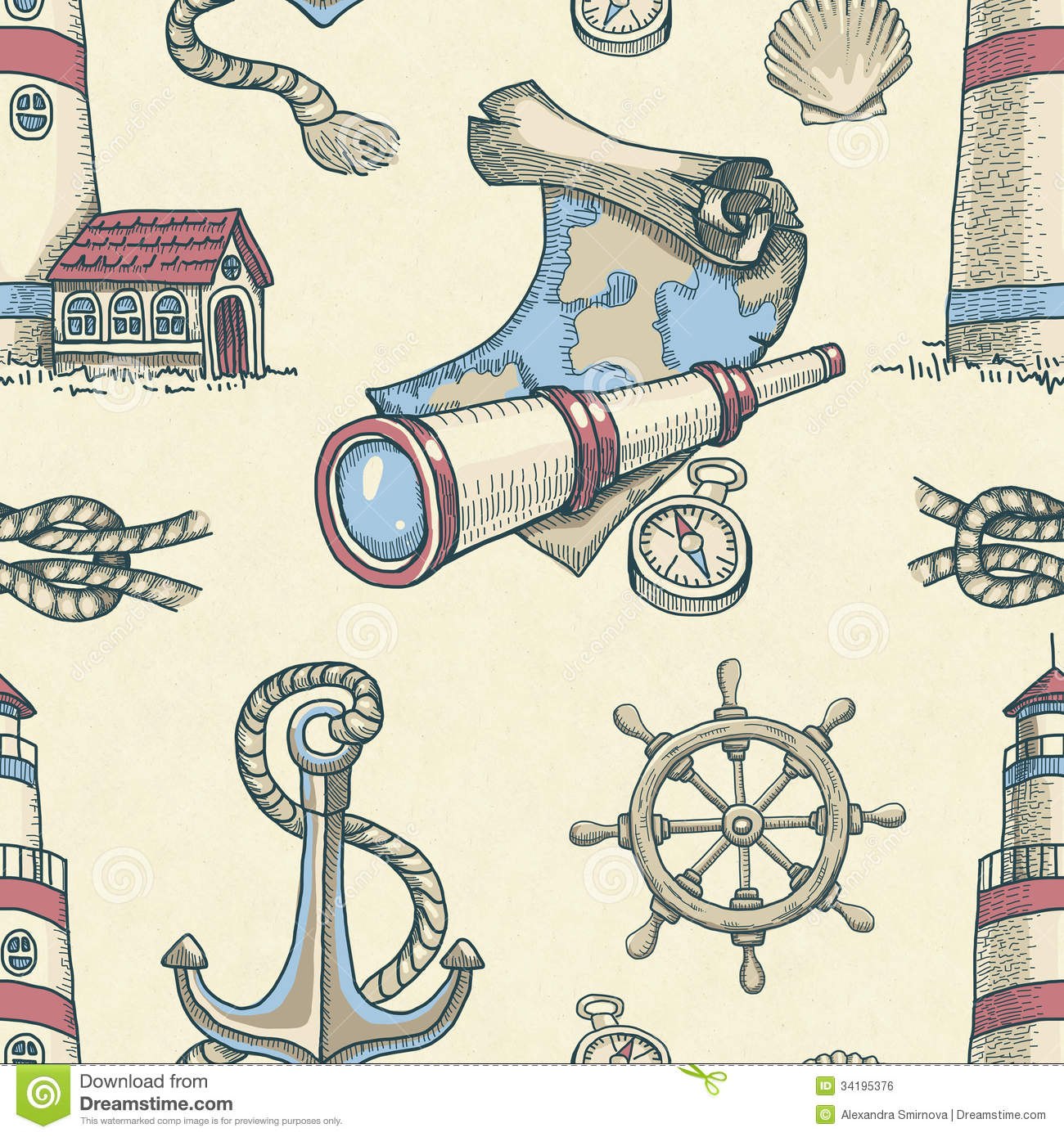 Nautical Seamless Pattern Royalty Free Stock Image   Image  34195376