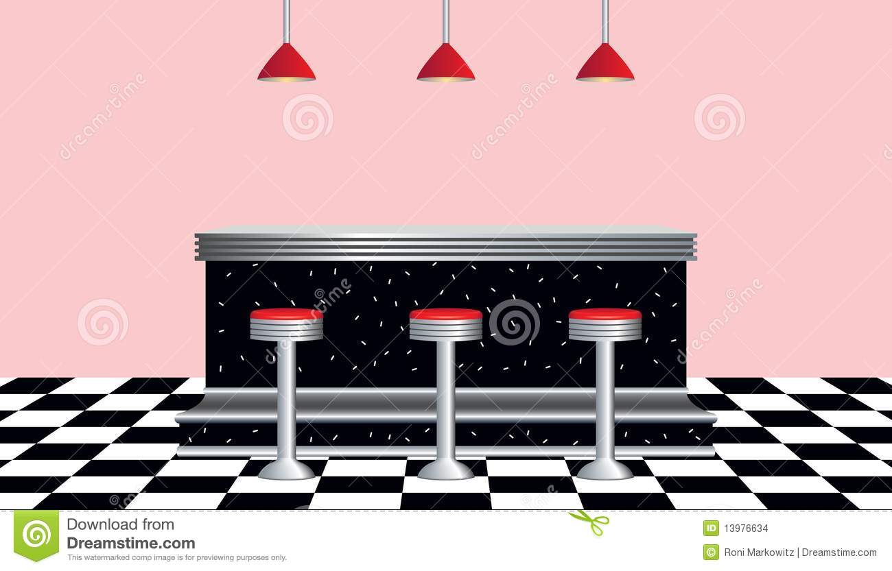 Retro Diner With Chrome And Black Counter Three Chrome Stools With