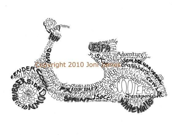 Retro Italian Vespa Scooter Art Typography Drawing Word Art Calligram