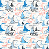 Seamless Nautical Pattern With Sailing Boats Stock Image