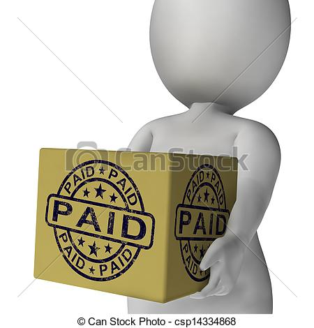 Stock Image Of Paid Stamp On Box Showing Invoice Payment Confirmation