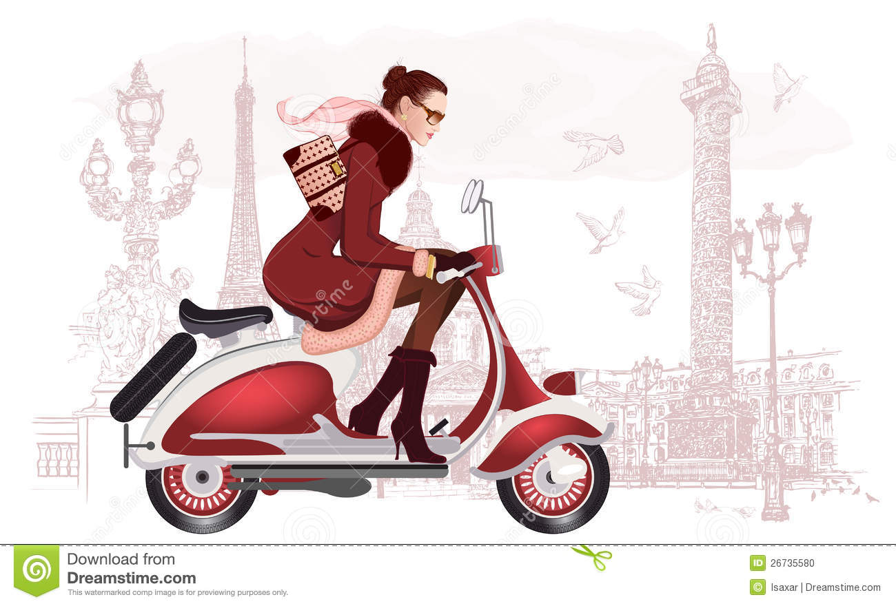 Woman Riding A Scooter Stock Photo   Image  26735580