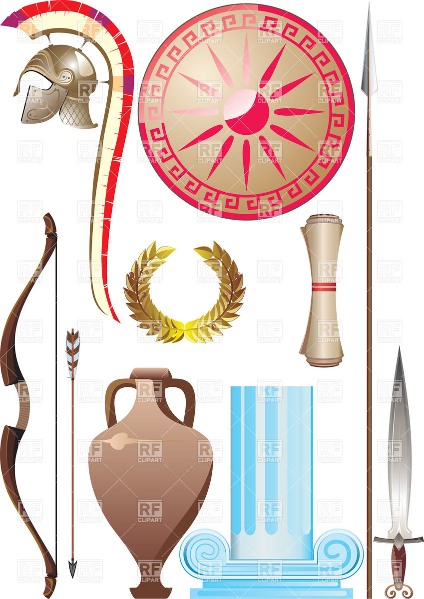 Ancient Greece Object Set Download Royalty Free Vector Clipart  Eps