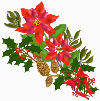 Christmas Bouquet Clip Art Image Containing Poinsettias Holly
