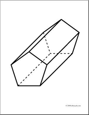 Clip Art  3d Solids  Pentagonal Prism  Coloring Page    Preview 1