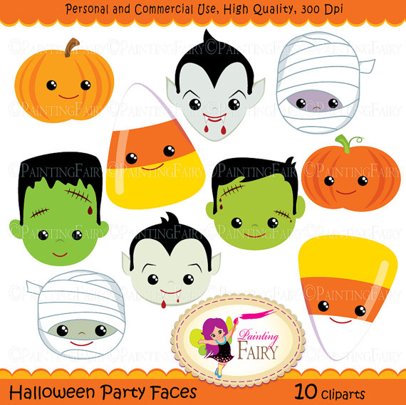 Clipart Halloween Party Faces Digital Images Dracula Vampire Pumpkin
