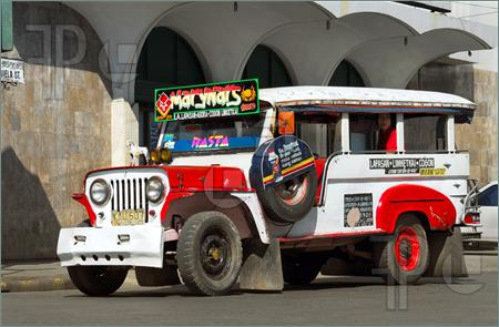 Colorful Flamboyant Psychedelic And Typical Filipino Jeepney On The