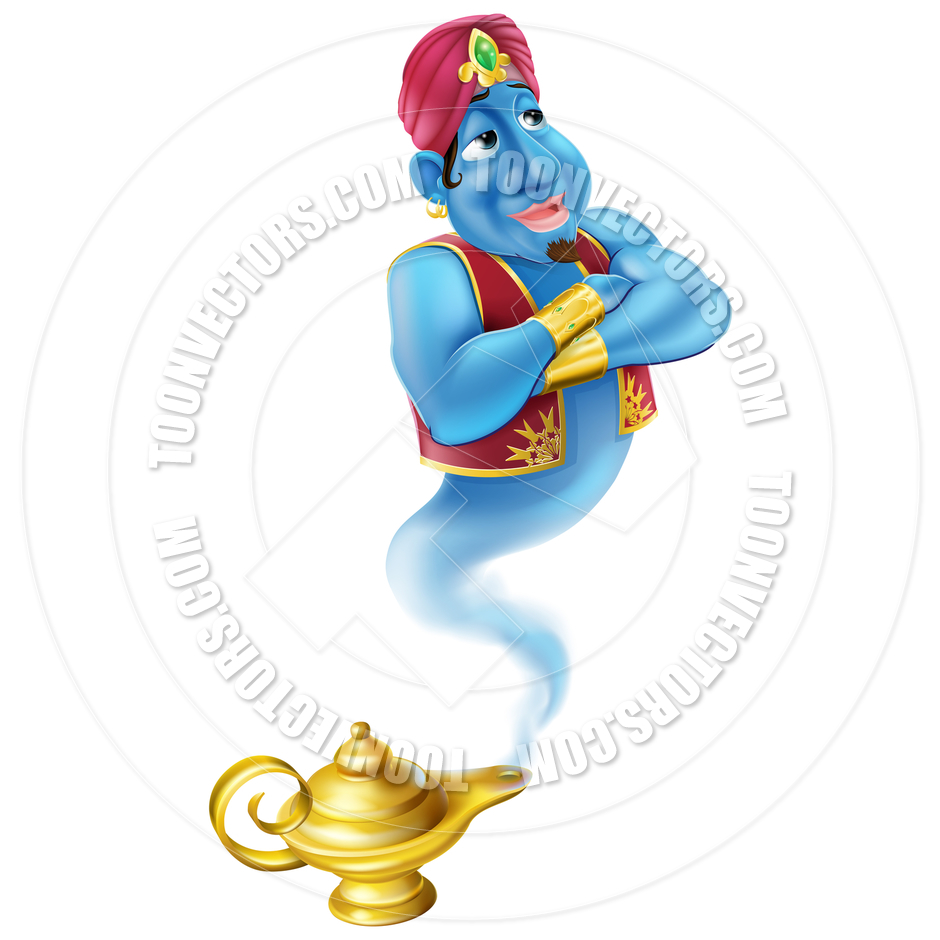 Friendly Genie And Magic Oil Lamp By Geoimages   Toon Vectors Eps
