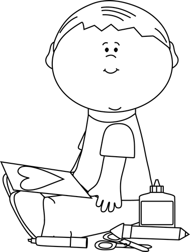 Glue Clipart Black And White Black And White Boy Drawing A