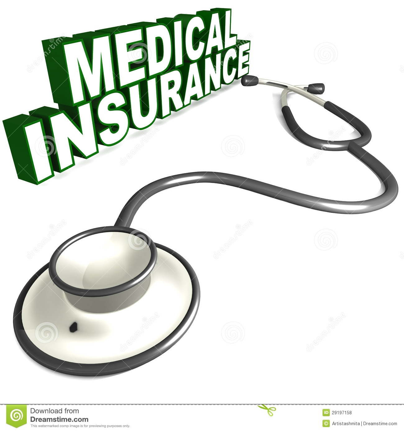 Medical Insurance Word Next To A Stethoscope On White Background