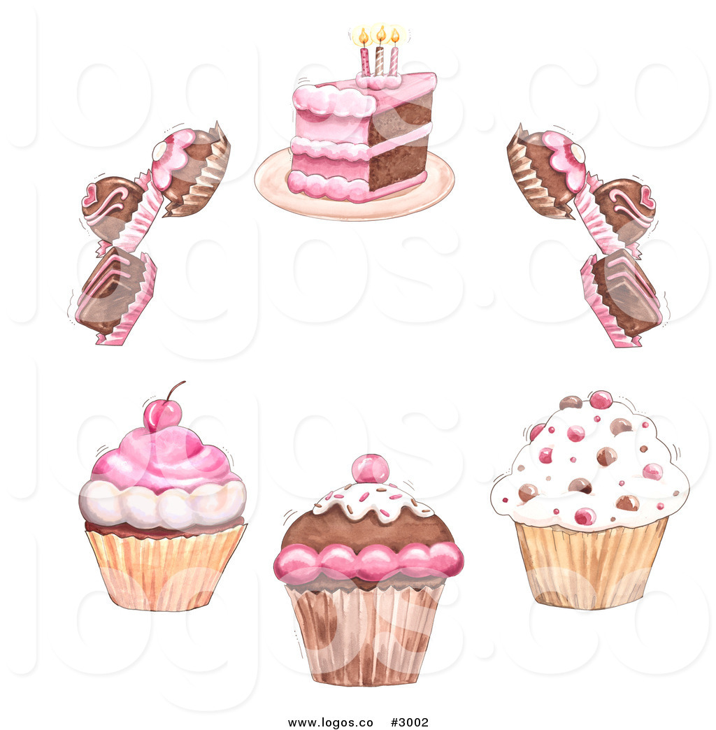 Royalty Free Vector Of A Cupcakes Truffles And Bakery Cake Circle Logo