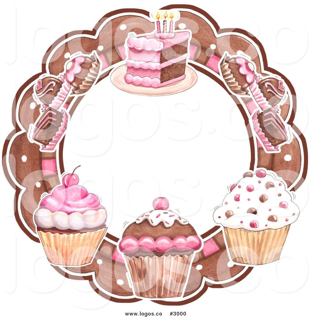 Royalty Free Vector Of A Cupcakes Truffles And Cake Circular Bakery