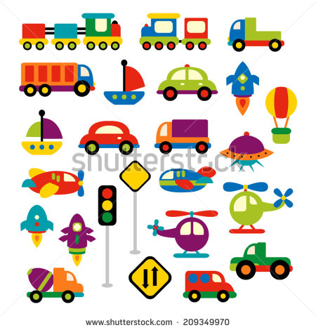 Transportation Vector Clip Art In Bright Colors  Trains Trucks Cars