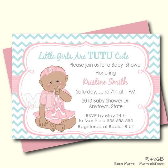 tutu cute baby shower invitation african by martinelatoons on etsy