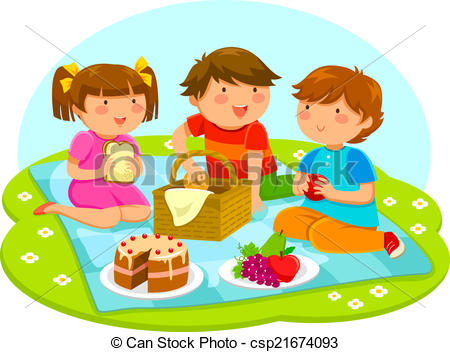 Eps Vectors Of Kids On A Picnic   Three Cute Kids Having A Picnic