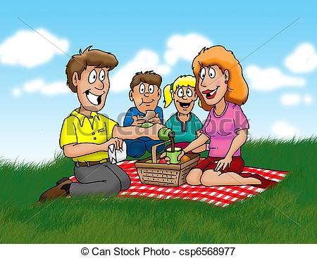 Family Enjoying A Picnic In The Park Csp6568977   Search Eps Clipart