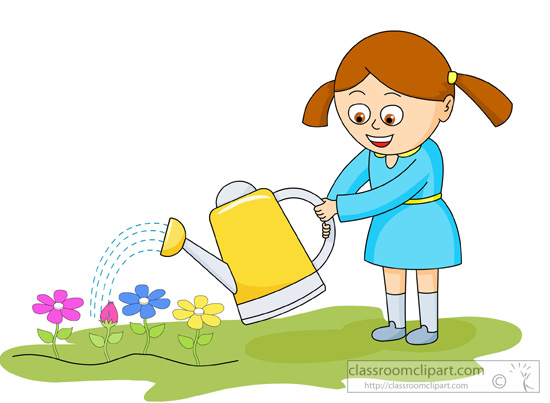 Girl Watering Flowers With Yellow Water Can   Classroom Clipart