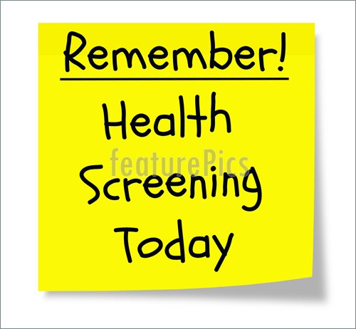Illustration Of Remember Health Screening Today Written On A Yellow