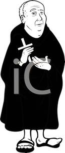 Of A Catholic Priest Holding A Cross   Royalty Free Clipart Picture
