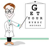 Optician Eye Test Cartoon   Royalty Free Clip Art