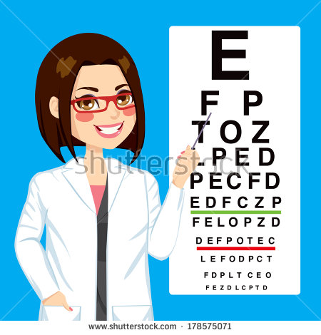 Optometrist Woman Pointing To Snellen Test Vision Chart   Stock Photo