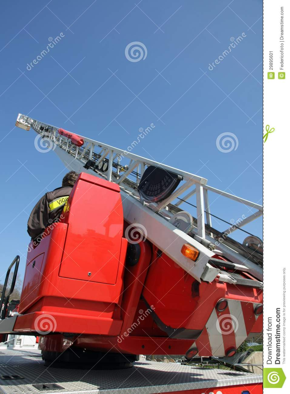 Platform Of A Fire Truck During A Practice Session In The Fireho Stock