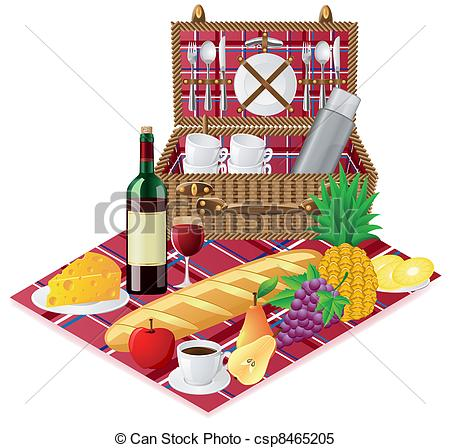 Vector   Basket For A Picnic With Tableware   Stock Illustration