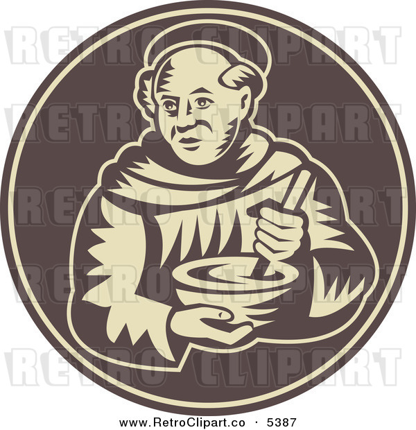 Vector Clipart Of A Retro Friar Monk Holding A Mixing Bowl By