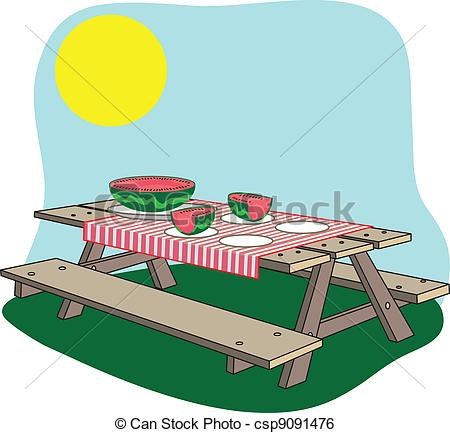 Vector   Picnic Bench   Stock Illustration Royalty Free Illustrations