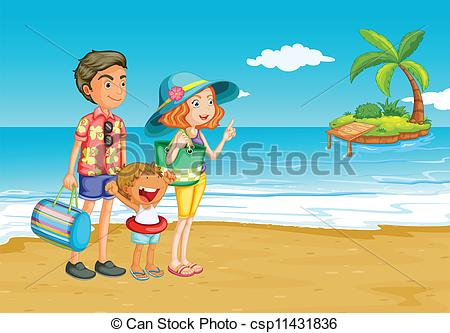 Vectors Of Having A Picnic   Family Outing To The Beach Csp11431836
