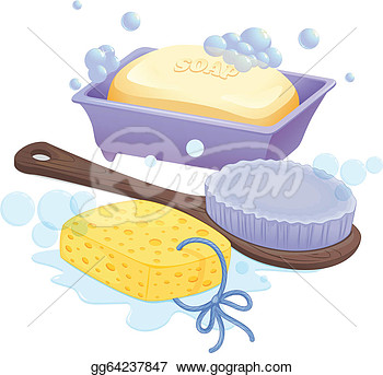 Brush And A Soap On A White Background  Clipart Drawing Gg64237847