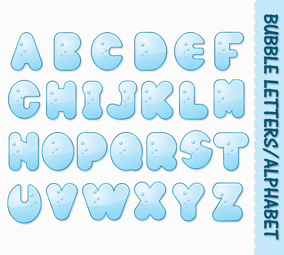 Bubble Letters Alphabet Clip Art Graphics Water Clipart Abc Aqua ...