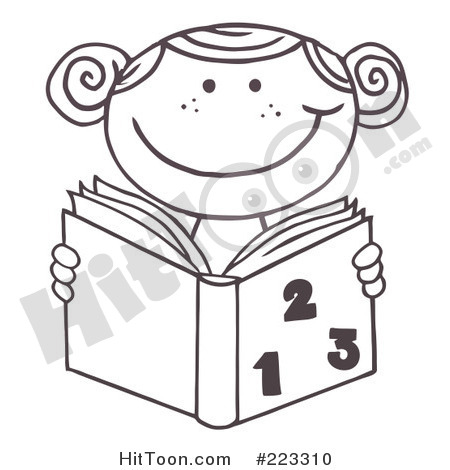 Clipart  223310  Coloring Page Outline Of A School Girl Reading A Math