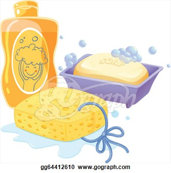 Clipart   Illustration Of A Sponge A Soap And A Shampoo On A White