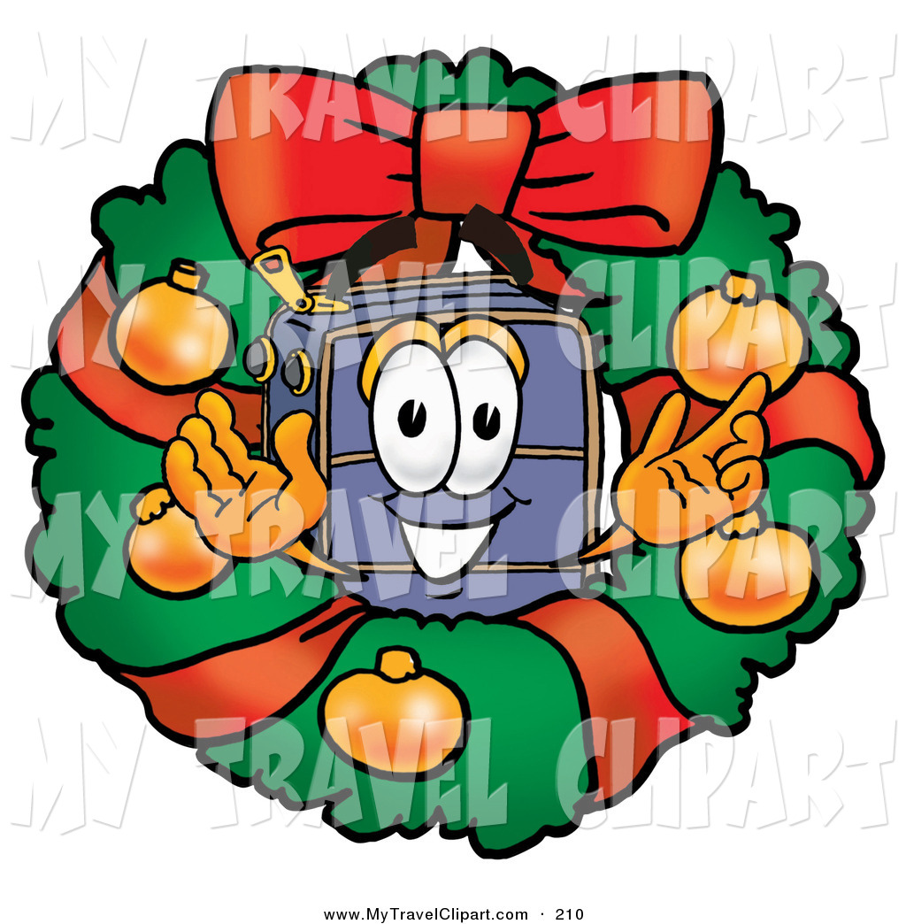 Clipart Of A Festive Suitcase Cartoon Character In The Center Of A