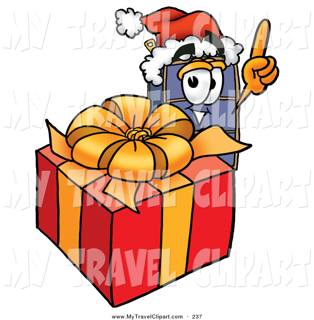 Clipart Of A Festive Suitcase Cartoon Character Standing By A