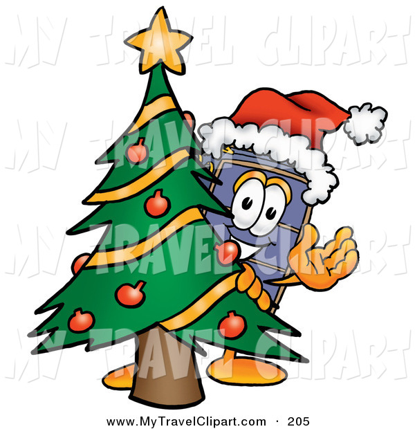 Clipart Of A Festive Suitcase Cartoon Character Waving And Standing By