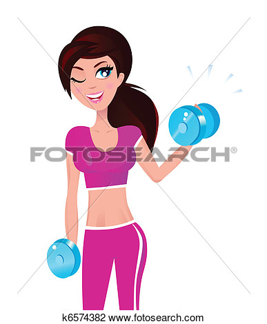 Clipart Of Beautiful Brunette Fit Woman Exercising With Weights In Her