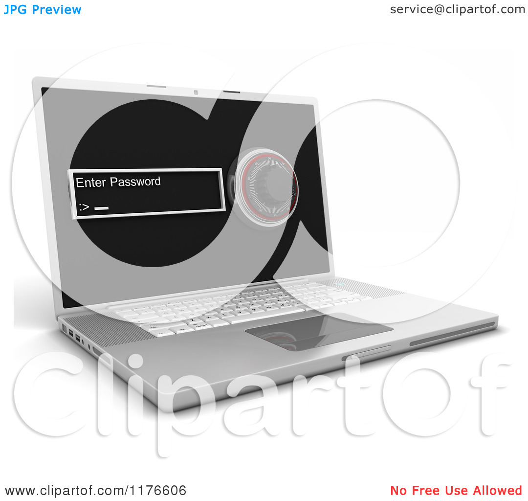 Combination Lock Clipart Clipart Of A 3d Laptop Computer With A