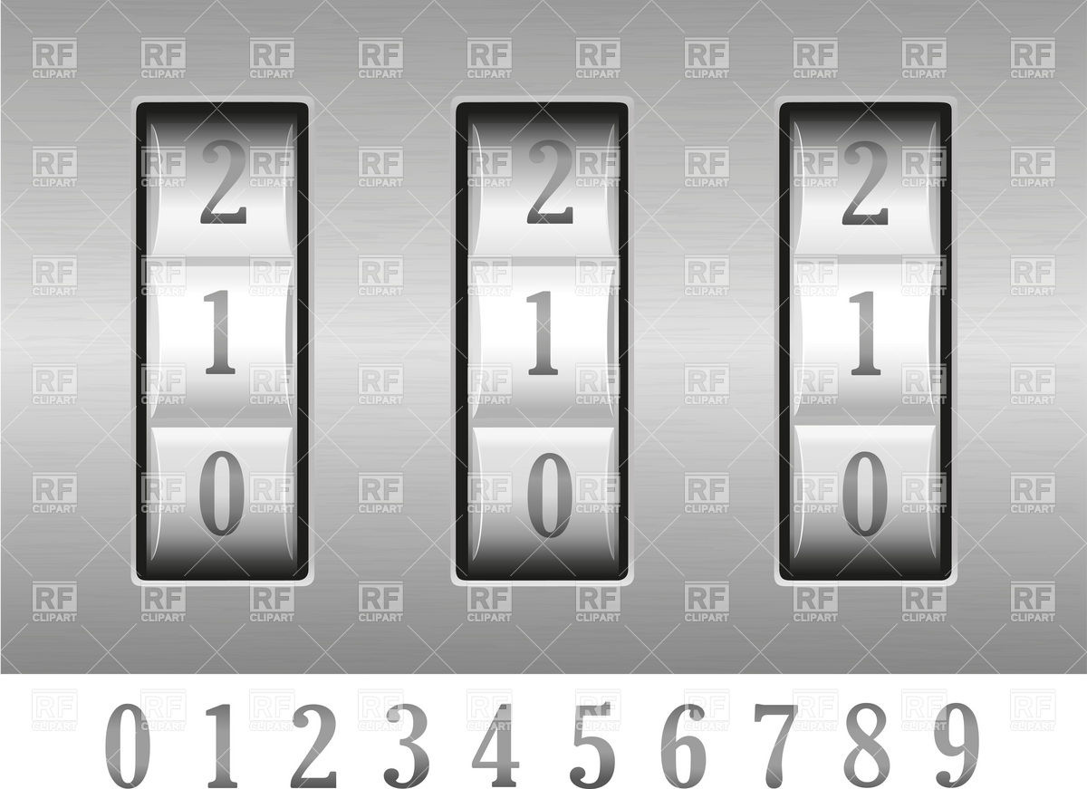 Combination Lock Numbers Download Royalty Free Vector Clipart  Eps