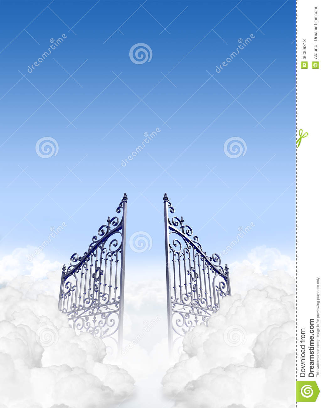 Depiction Of The Gates To Heaven In The Clouds Open Under A Clear