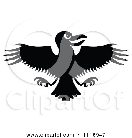 Evil Cartoon Crow Vector Clip Art Illustration With Simple Grant