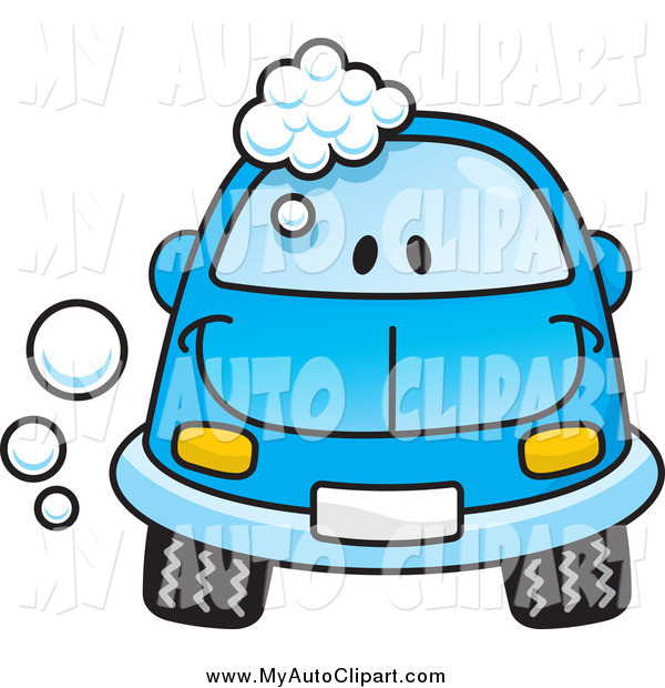 Of A Happy Blue Car With Washing Soap Bubbles By Any Vector    1598